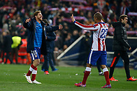 Atletico de Madrid´s Ansaldi and Joao Miranda celebrate their victory during the UEFA Champions League round of 16 second leg match between Atletico de Madrid and Bayer 04 Leverkusen at Vicente Calderon stadium in Madrid, Spain. March 17, 2015. (ALTERPHOTOS/Victor Blanco)