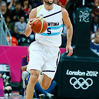 06 August 2012: Argentina Manu Ginobili brings the ball upourt during 126-97 Team USA victory over Team Argentina, during the men's basketball preliminary, at the Basketball Arena, in London, Great Britain.
