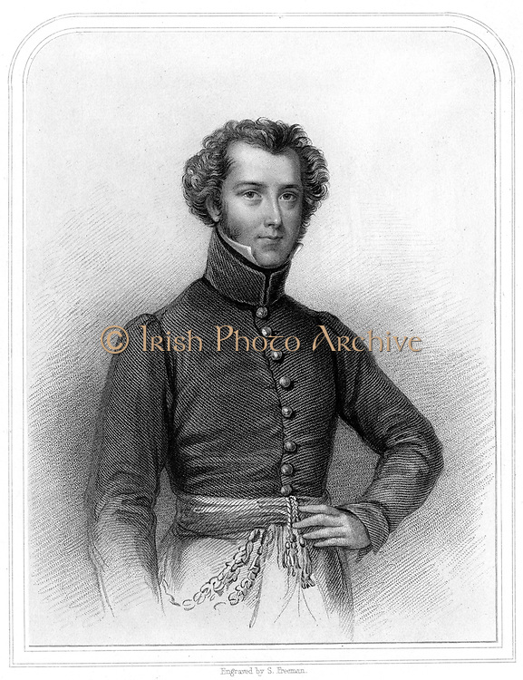 Alexander Gordon Laing (1793-1826), Scottish explorer of Western Africa.  He was the first European known to have reached the ancient city of Tombouctou (Timbuctoo) in August 1826 but was murdered there a month later. From 'A Biographical Dictionary of Eminent Scotsmen' by Thomas Thomson. (London, 1870). Engraving.