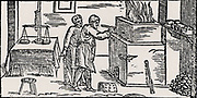 Assay laboratory, showing muffle furnace and balance, left.  From  'De la pirotechnia' by Vannoccio Biringuccio (Venice, 1540).