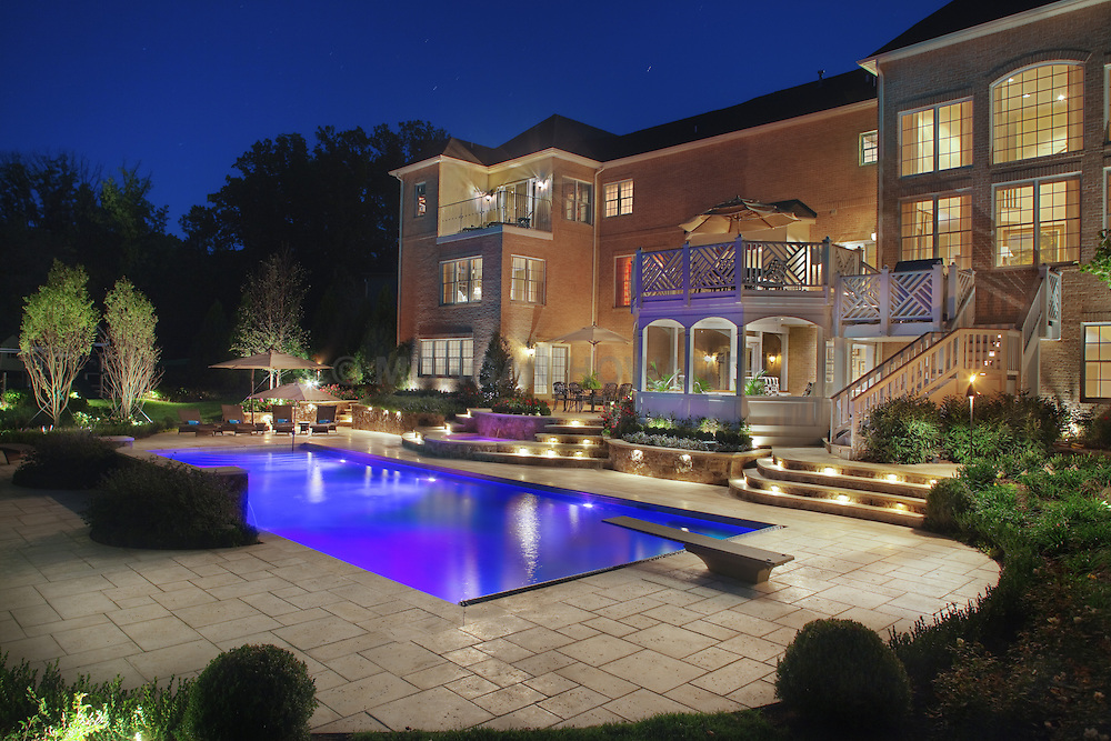 11529 Seneca Woods Pool and patio by Lewis Aquatech swimming pool Swimming pool House rear exterior Deck patio Verandah Porch Pool pool house