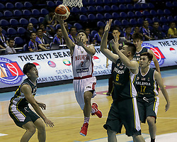 QUEZON Quezon City, May 13, 2017  Hardianus Lakudu of Indonesia (C) competes against players from Malaysia during their match in the 2017 SEABA senior men's championship tournament in Quezon City, the Philippines, May 13, 2017. Indonesia won 63-42. (Credit Image: © Rouelle Umali/Xinhua via ZUMA Wire)