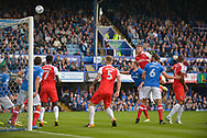 Fleetwood Town Defender, Cian Bolger (12) heads over the bar during the EFL Sky Bet League 1 match between Portsmouth and Fleetwood Town at Fratton Park, Portsmouth, England on 16 September 2017. Photo by Adam Rivers.
