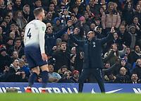 Football - 2018 / 2019 EFL Carabao Cup (League Cup) - Semi-Final, Second Leg: Chelsea (0) vs. Tottenham Hotspur (1)<br /> <br /> Maurizio Sarri, Manager of Chelsea FC, raises his arms in disbelief at Stamford Bridge <br /> <br /> COLORSPORT/DANIEL BEARHAM