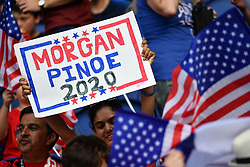 June 29, 2019 - Paris, ile de france, France - a fans show a placard to vote for Megan RAPINOE for 2020 before the quarter-final between FRANCE vs USA in the 2019 women's football World cup at Parc des Princes in Paris, on the 28 June 2019. (Credit Image: © Julien Mattia/NurPhoto via ZUMA Press)