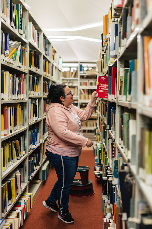 Ruth Borovsky, 29, a former ultra-Orthodox Jewish woman that has left the strict Jewish religious community in which she lived for most of her life, is seen searching for books at the library of the Mount Scopus campus of the Hebrew University in Jerusalem, Israel, on November 25, 2019. Ruth Borovsky is a client of Hillel - The Right to Choose, an Israeli non-profit organization dedicated to helping young adults who have left the ultra-Orthodox Jewish world integrate and lead successful lives as members of secular Israeli society.
