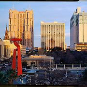 Torch of Friendship sculpture by Sabasti·n and three hotels in downtown San Antonio. <br /> Photo by Nathan Lambrecht