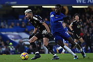 Riyad Mahrez of Leicester City (L) in action with Tiemoue Bakayoko of Chelsea (R). Premier League match, Chelsea v Leicester City at Stamford Bridge in London on Saturday 13th January 2018.<br /> pic by Steffan Bowen, Andrew Orchard sports photography.