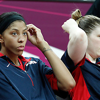 05 August 2012: USA Candace Parker is seen on the bench next Lindsay Whalen during 114-66 Team USA victory over Team China, during the women's basketball preliminary, at the Basketball Arena, in London, Great Britain.