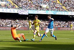 April 8, 2018 - Napoli, Napoli, Italy - Naples - Italy 08/04/2018.ARKADIUSZ MILIK of S.S.C. NAPOLI and SORRENTINO STEFANO of CHIEVO VERONA  during SERIE A  match between S.S.C. NAPOLI and CHIEVO VERONA   at Stadio San Paolo of Naples. .Final scores S.S.C. NAPOLI -CHIEVO VERONA 2-1  (Credit Image: © Emanuele Sessa/Pacific Press via ZUMA Wire)
