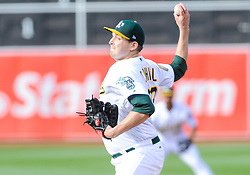 May 5, 2018 - Oakland, CA, U.S. - OAKLAND, CA - MAY 05: Oakland Athletics starting pitcher Trevor Cahill (53) throws in the first inning during the regular season game between the Oakland Athletics and the Baltimore Orioles on May 5, 2018 at Oakland-Alameda County Coliseum in Oakland,CA (Photo by Samuel Stringer/Icon Sportswire) (Credit Image: © Samuel Stringer/Icon SMI via ZUMA Press)