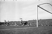13/10/1963<br /> 10/13/1963<br /> Ireland v Austria, European Championship match at Dalymount Park, Dublin. Ireland won the game 3-2. Austrian keeper Gernot Fraydl fails to stop Irelands No. 9 Noel Cantwell scoring the first Irish goal on a rebound from a shot by Joe Haverty.