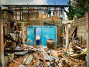 16 NOVEMBER 2015 - BANGKOK, THAILAND:  A torn down home in the Wat Kalayanamit neighborhood. Fifty-four homes around Wat Kalayanamit, a historic Buddhist temple on the Chao Phraya River in the Thonburi section of Bangkok, are being razed and the residents evicted to make way for new development at the temple. The abbot of the temple said he was evicting the residents, who have lived on the temple grounds for generations, because their homes are unsafe and because he wants to improve the temple grounds. The evictions are a part of a Bangkok trend, especially along the Chao Phraya River and BTS light rail lines. Low income people are being evicted from their long time homes to make way for urban renewal.          PHOTO BY JACK KURTZ