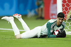 goalkeeper Thibaut Courtois of Belgium during the 2018 FIFA World Cup Russia round of 16 match between Belgium and Japan at the Rostov Arena on July 02, 2018 in Rostov-On-Don, Russia