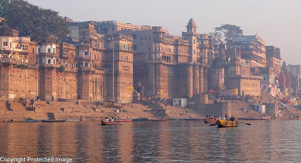 Varanasi, India at sunrise.<br /> Photo by Shmuel Thaler <br /> shmuel_thaler@yahoo.com www.shmuelthaler.com