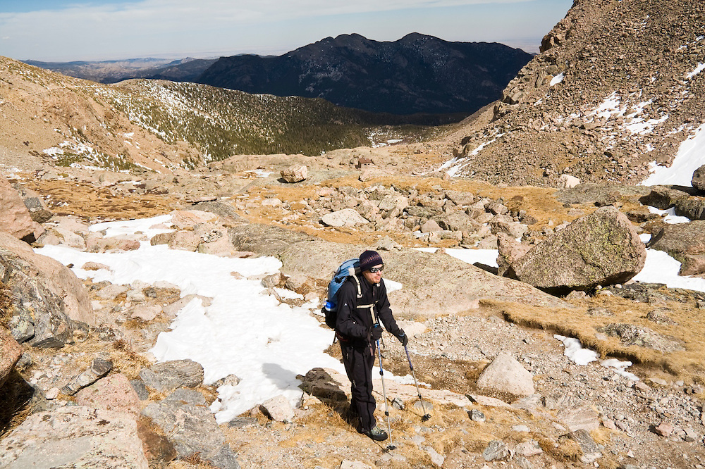 Nathan Kurz on the approach to Chasm Lake, Rocky Mountain National Park, Colorado.
