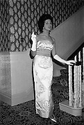 12/09/1962<br /> 09/12/1962<br /> 12 September 1962<br /> Fashion: Veronica Jaye Autumn/Winter collection 1962 fashion show at the Northbrook Hotel, Dublin. White satin beaded ball-gown worn by Maida.