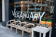 Sign for Veganuary outisde a cafe on 21st January 2020 in London, England, United Kingdom. Veganuary is a UK nonprofit organization that encourages people to go vegan for the month of January as a way to promote and educate about a vegan lifestyle.