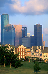 Stock photo of the downtown Houston skyline seen from the western side