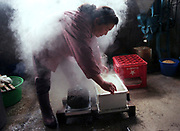 Sumiko Sasaki places a cloth over a steaming container of tofu she is making by hand, a task she has been doing in the same small room in the town of Rokugo, Japan, for 38 years. Like her mother before her, Sasaki rises at 5am and delivers  the fresh tofu to customers by bicycle the same day.