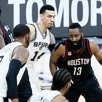 01 May 2017: Houston Rockets guard James Harden (13) drives past San Antonio Spurs guard Danny Green (14) on  screen set by Houston Rockets center Clint Capela (15) during the Houston Rockets 126-99 victory over the San Antonio Spurs, in game 1 of the Western Conference Semi Finals, at the AT&T Center, San Antonio, Texas, USA.