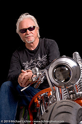 """Arlen Ness with his S&S 124"""" powered custom he built for the S&S 50th Anniversary show. Photo by Michael Lichter. June 30, 2008, in La Crosse, WI. ©2008 Michael Lichter"""