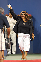Singer Aretha Franklin waves the crowd during the Hall of Fame induction of the late African-American tennis player Althea Gibson, prior to the night session of the US Open tennis tournament held at the Arthur Ashe stadium in Flushing Meadows, New York City, NY, USA on August 27, 2007. Photo by Corinne Dubreuil/Cameleon/ABACAPRESS.COM