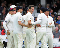 Cricket - 2017 South Africa Tour of England - Third Test, Day Two<br /> <br /> England debutant, Toby Roland - Jones celebrates his third wicket during the afternoon session with team mates at The Oval.<br /> <br /> COLORSPORT/ANDREW COWIE