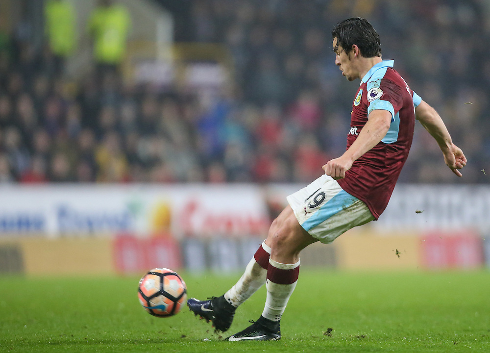 Burnley's Joey Barton shoots at goal from a freekick<br /> <br /> Photographer Alex Dodd/CameraSport<br /> <br /> Emirates FA Cup Third Round Replay - Burnley v Sunderland - Tuesday 17th January 2017 - Turf Moor - Burnley<br />  <br /> World Copyright © 2017 CameraSport. All rights reserved. 43 Linden Ave. Countesthorpe. Leicester. England. LE8 5PG - Tel: +44 (0) 116 277 4147 - admin@camerasport.com - www.camerasport.com