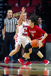 NORMAL, IL - February 07: Paige Saylor guards Lasha Petree during a college women's basketball game between the ISU Redbirds and the Braves of Bradley University February 07 2020 at Redbird Arena in Normal, IL. (Photo by Alan Look)