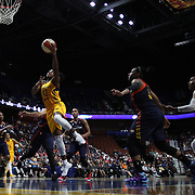 UNCASVILLE, CONNECTICUT- JUNE 5:   Shenise Johnson #42 of the Indiana Fever drives to the basket for two during the Indiana Fever Vs Connecticut Sun, WNBA regular season game at Mohegan Sun Arena on June 3, 2016 in Uncasville, Connecticut. (Photo by Tim Clayton/Corbis via Getty Images)