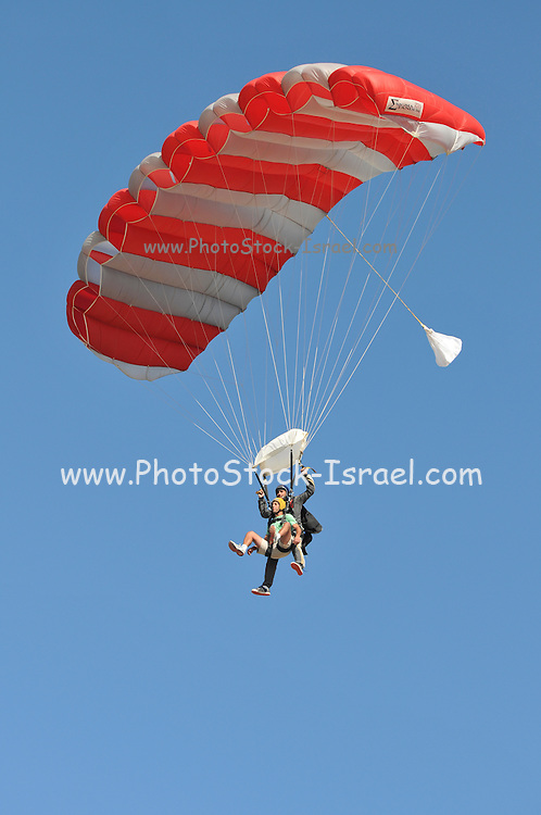 Israel, Habonim Skydive centre Tandem jumpers in the sky