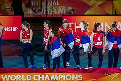 20-10-2018 JPN: Ceremony World Championship Volleyball Women day 21, Yokohama<br /> Gold medal Serbia