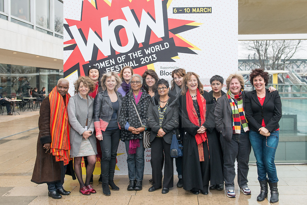 © Licensed to London News Pictures. 07/03/2013. WOMEN AT THE TOP: Ruby Wax, Sandi Toksvig, Alice Walker and Jude Kelly take to the roof of the Royal Festival Hall to mark International Women' Day and launch the Southbank Centre's WOW - WOMEN OF THE WORLD FESTIVAL. WOW is the Southbank festival where women and men of all ages and backgrounds celebrate women's achievements and discuss the obstacles they face across the world..L-r: Singer-songwriter Angelique Kidjo, Psychoanalyst & Writer Susie Orbach, Singer Seaming To, Southbank Artistic Director Jude Kelly, Singer & Conductor Barbara Hannigan, Writer Alice Walker, Writer & Activist Naomi Wolf, Filmaker Pratibha Palmer, Comedian Bridget Christie, QC & MP Helena Kennedy, Director of Liberty Shami Chakrabarti, Comedian, Author and Broadcaster Sandi Toksvig, and Comedian and Writer Ruby Wax.Photo credit: Tony Nandi/LNP.