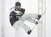SHOT 12/18/10 12:35:00 PM - J.J. Thomas of Breckenridge, Co. takes a practice run before the Snowboard Superpipe Finals during the Nike 6.0 Open stop of the Winter Dew Tour at Breckenridge Ski Resort in Breckenridge, Co. Thomas finished fourth with a score of 69.50. The event features ski and snowboard slopestyle and superpipe. (Photo by Marc Piscotty / © 2010)