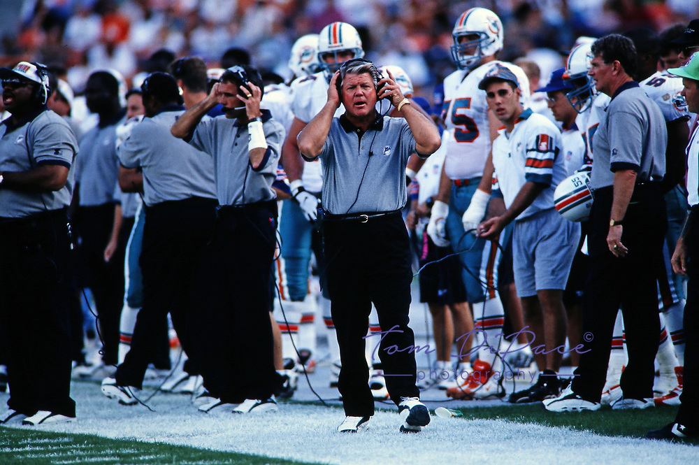 Miami Dolphins  Head coach Jimmy Johnson  during a game. Circa 1996-99 at Pro Player Stadium in Miami, Florida.<br /> <br /> (Tom DiPace )