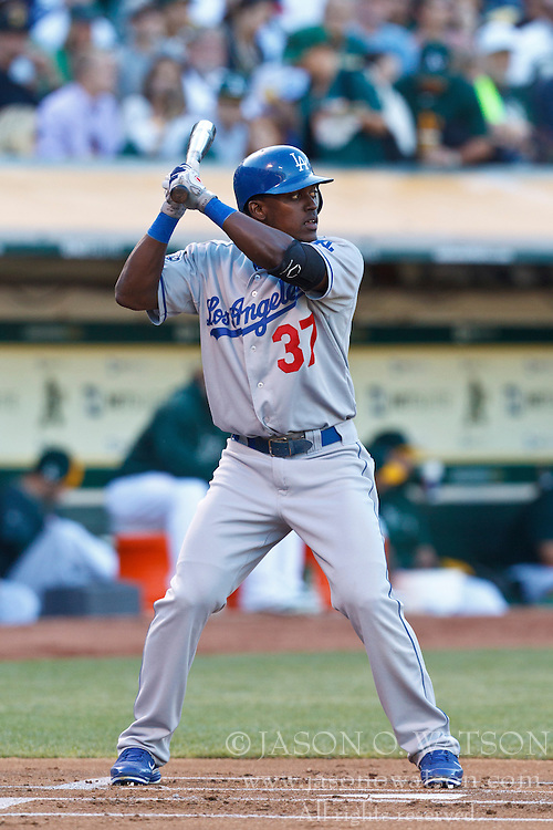 OAKLAND, CA - JUNE 20: Elian Herrera #37 of the Los Angeles Dodgers at bat against the Oakland Athletics during the first inning of an interleague game at O.co Coliseum on June 20, 2012 in Oakland, California. The Oakland Athletics defeated the Los Angeles Dodgers 4-1. (Photo by Jason O. Watson/Getty Images) *** Local Caption *** Elian Herrera