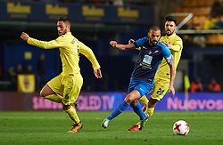 November 30, 2017 - Vila-Real, Castellon, Spain - Victor Ruiz and Roberto Soriano of Villarreal CF and Yuri  of SD Ponferradina during the Copa del Rey, Round of 32, Second Leg match between Villarreal CF and SD Ponferradina at Estadio de la Ceramica on november 30, 2017 in Vila-real, Spain. (Credit Image: © Maria Jose Segovia/NurPhoto via ZUMA Press)