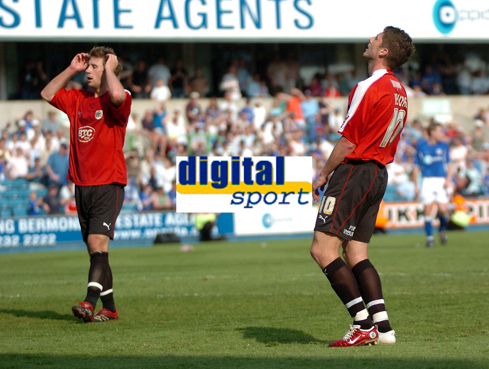 Photo: Tony Oudot.<br /> Millwall v Bristol City. Coca Cola League 1. 28/04/2007.<br /> David Noble and Phil Jevons of Bristol City cant believe it as a chance is missed