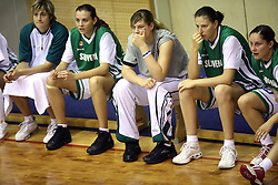 Team of Slovenia at basketball qualification match of women division B  between National teams of Slovenia and Netherlands, on August 27, 2008, in Vitranc Hall, Kranjska Gora. Win of NED 83:81. (Photo by Vid Ponikvar / Sportida)