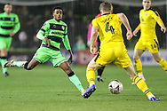 Forest Green Rovers Reece Brown(10) closes down scores a goal 0-4 during the The FA Cup 1st round replay match between Forest Green Rovers and Oxford United at the New Lawn, Forest Green, United Kingdom on 20 November 2018.
