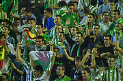 Photo Peter Spurrier<br /> 14/09/2002<br /> 2002 Real Betis vs Real Madrid  - Spanish Liga 1<br /> Real Betis. fans, with the Welsh National flag