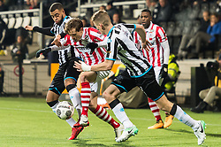 (L-R) Brandley Kuwas of Heracles Almelo, Craig Goodwin of Sparta Rotterdam, Tim Breukers of Heracles Almelo, Sherel Floranus of Sparta Rotterdam during the Dutch Eredivisie match between Heracles Almelo and Sparta Rotterdam at Polman stadium on December 14, 2017 in Almelo, The Netherlands
