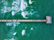 Aerial view of a wharf in Miami, Florida, USA as seen from the sea.