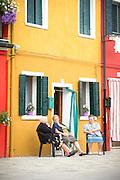 Street scene, Island of Burano, Venice, Italy, Europe