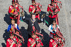 The Nepal Army Band perform a snippet from this year's Royal Edinburgh Military Tattoo for the city's Lord Provost Donald Wilson at the City Chambers