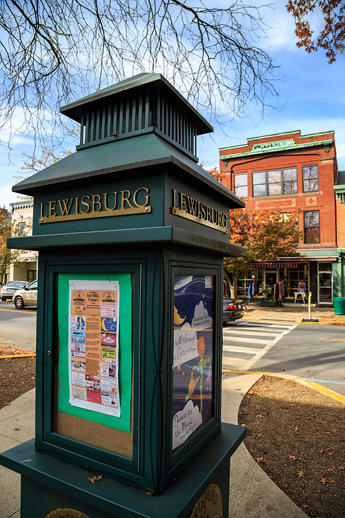 Lewisburg, PA / USA - November 4, 2017: A map and information kiosk on Market Street in the downtown area.