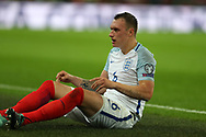 Phil Jones of England looks on.  FIFA World cup qualifying match, European group F, England v Slovakia at Wembley Stadium in London on Monday 4th September 2017.<br /> pic by Andrew Orchard, Andrew Orchard sports photography.