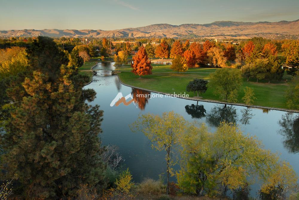 Autumn above Ann Morrison Park Boise skyline, Idaho.