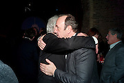 SIR RICHARD EYRE; KEVIN SPACEY, Party after the opening of 'Flea in her Ear' . The Old Vic. ( John Mortimer write the translation of theplay.) Vinioplois. 14 December 2010. DO NOT ARCHIVE-© Copyright Photograph by Dafydd Jones. 248 Clapham Rd. London SW9 0PZ. Tel 0207 820 0771. www.dafjones.com.